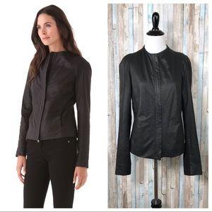 Vince M Black Crew Neck 100% Leather Zip Up Jacket